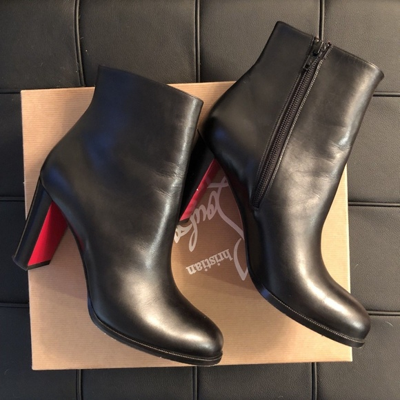 on sale bc61f 77bfb Christian Louboutin Black Adox 85 Boots 38.5